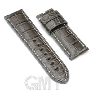 【GMTオリジナル ストラップ】パネライ ルミノール用 クロコダイル サイズ24mm-22mm グレー 生成りステッチ