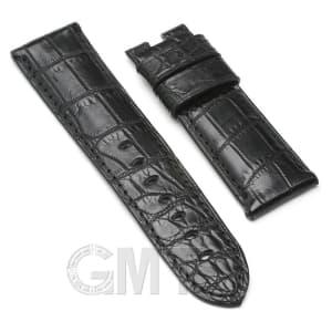 【GMTオリジナル ストラップ】パネライ ルミノール用 クロコダイル サイズ24mm-22mm ブラック
