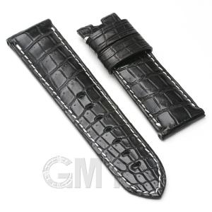 【GMTオリジナル ストラップ】パネライ ルミノール用 クロコダイル サイズ24mm-22mm ブラック 生成りステッチ